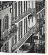 Bourbon Street Morning-bw-nola Wood Print