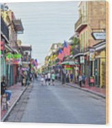Bourbon Street - New Orleans Louisianna Wood Print
