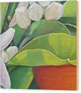 Boutons, Orange et Fleur Wood Print