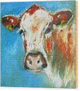 Bovine On Blue  Wood Print