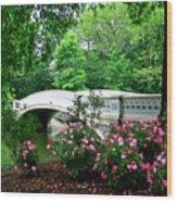 Bow Bridge In Springtime Wood Print