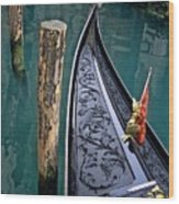 Bow Of Gondola In Venice Wood Print