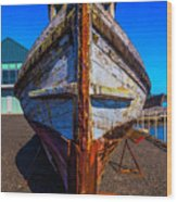Bow Of Old Worn Boat Wood Print