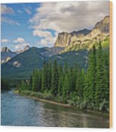 Bow River And Three Sisters Canmore Wood Print