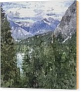 Bow River Valley In The Canadian Rockies Wood Print