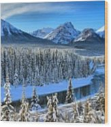Bow River Valley View Wood Print