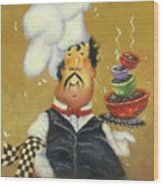 Bow Tie Chef Four Bowl Wood Print