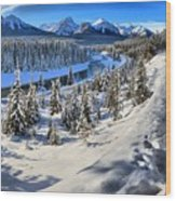 Bow Valley Mountains Wood Print