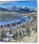 Bow Valley Winter View Wood Print