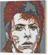 Bowie As Ziggy Wood Print by Suzanne Gee