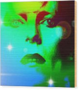 Bowie In Blue Wood Print