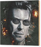Bowie With Glasses Wood Print