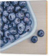 Bowl Of Fresh Blueberries Wood Print