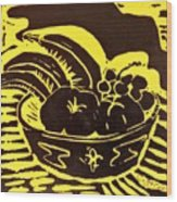 Bowl Of Fruit Black On Yellow Wood Print