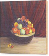 Bowl Of Fruits Wood Print