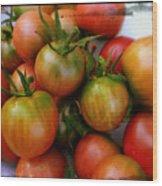 Bowl Of Heirloom Tomatoes Wood Print