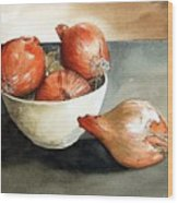 Bowl Of Onions Wood Print