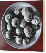 Bowl Of Plums Still Life Wood Print