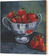 Bowl Of Strawberries  Wood Print