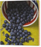 Bowl Pouring Out Blueberries Wood Print