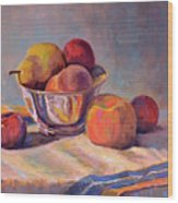 Bowl With Fruit Wood Print