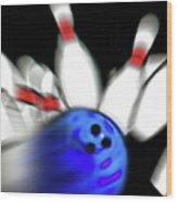 Bowling Sign 2 - Strike  Wood Print