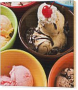 Bowls Of Different Flavor Ice Creams Wood Print