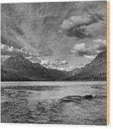 Bowman Lake Black And White Panoramic Wood Print