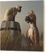 Boxer And Siamese Wood Print by Daniel Eskridge