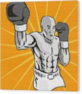 Boxer Boxing Knockout Punch Retro Wood Print by Aloysius Patrimonio
