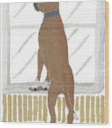 Boxer Dog Art Hand-torn Newspaper Collage Art Wood Print