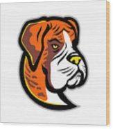 Boxer Dog Mascot Wood Print