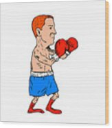 Boxer Fighting Stance Cartoon Wood Print