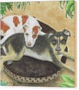 Boxer Hound Cross Dogs Plants Animals Cathy Peek Wood Print