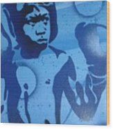 Boxer In Blue Wood Print