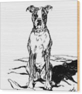 Boxer In The Dirt Wood Print