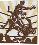 Boxer Knocking Out Wood Print by Aloysius Patrimonio
