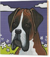 Boxer Wood Print by Leanne Wilkes
