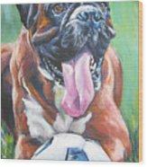 Boxer Soccer Wood Print by Lee Ann Shepard