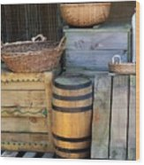 Boxes And Baskets Wood Print
