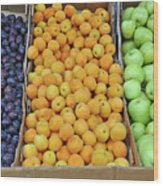 Boxes Of Fruit Wood Print