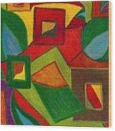 Boxesleaves1 Wood Print