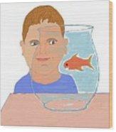 Boy And Fish Wood Print