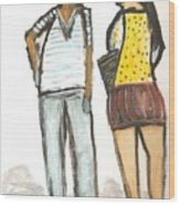 Boy And Girl After School Wood Print