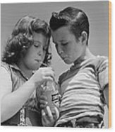 Boy And Girl Sharing A Soda, C.1950s Wood Print