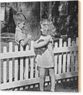Boy And Girl Talking Over Fence, C.1940s Wood Print