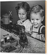 Boy And Girl With Train Set, C.1950s Wood Print