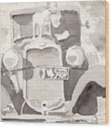 Boy And His Dog On An Old Car Wood Print