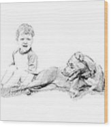 Boy And His Dog Wood Print