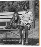Boy And Orangutan Wood Print